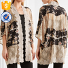 Loose Soft Ivory Silk Lace-paneled Black Floral Printed Jackets For Ladies Manufacture Wholesale Fashion Women Apparel (TE0077C)