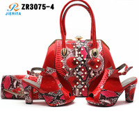 ZR3075-4 guangzhou JIERITA latest sandals designs for lady big red colors italian shoes matching bag sets