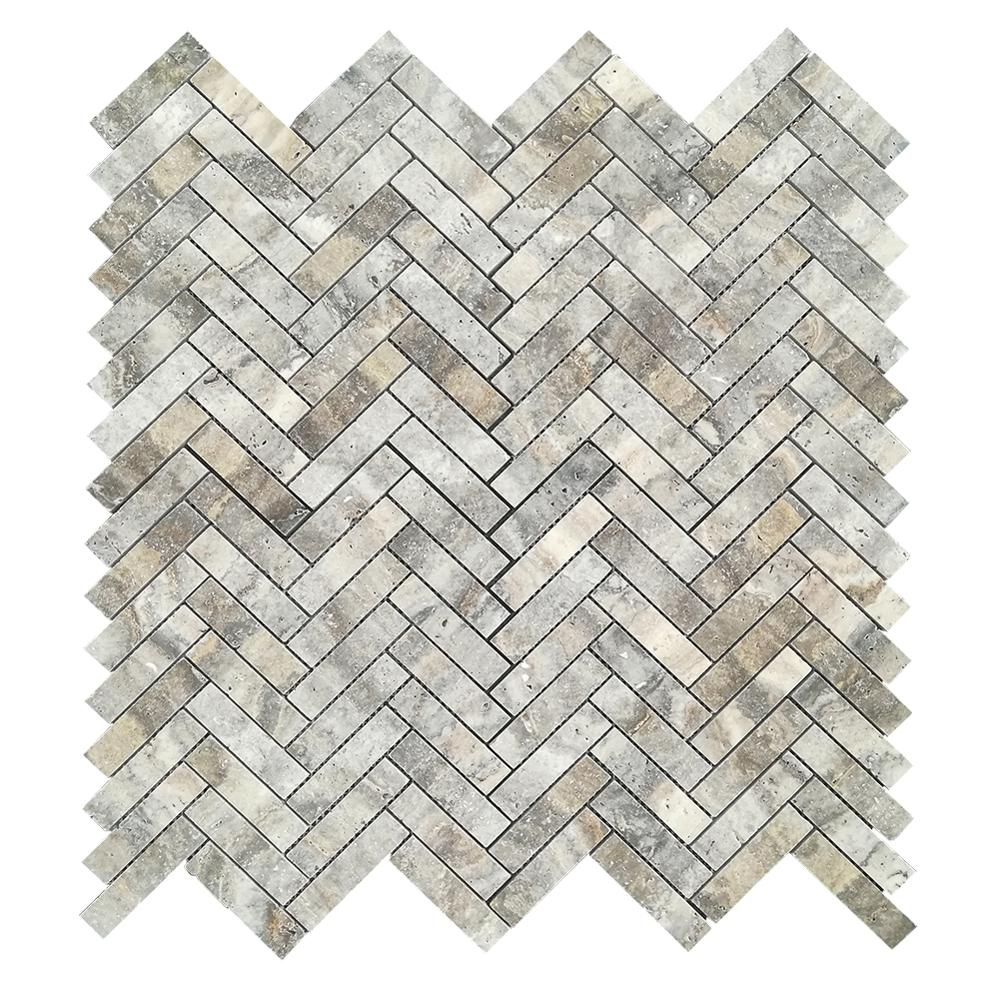 - Retro Hexagon Mosaic Grey Marble Silver Travertine For Kitchen