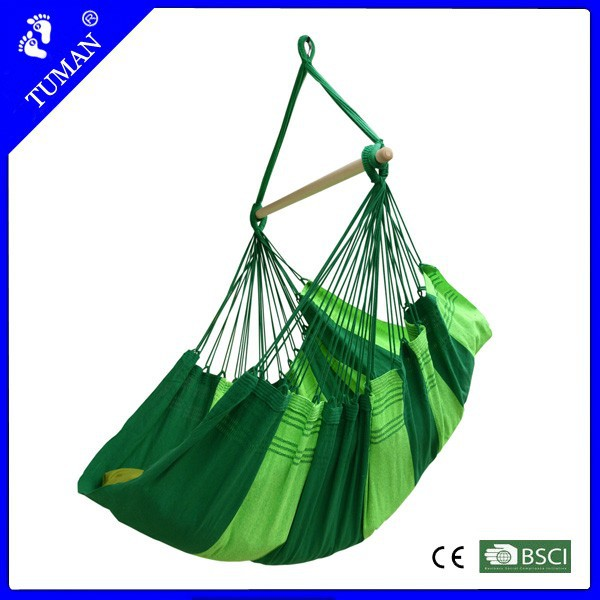 Striped Fabric Hammock Outdoor Wooden Garden Swing Chair
