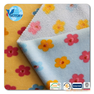 100% Polyester Micro Printid Brushed Polar Fleece Knitted Fabric