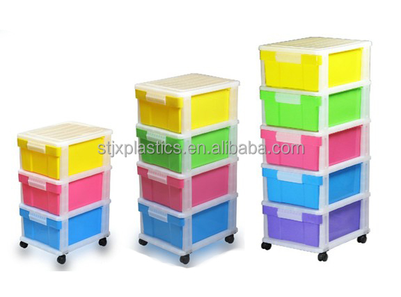 3 4 5 Tiers Rainbow Thick Plastic Storage Drawer With