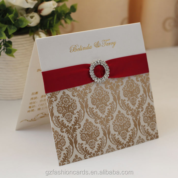 2014 Hot Sale Fancy Wedding Invitation Cards with Ribbon and ...