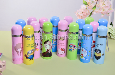 lovely/cartoon pictures double wall vacuum flask /mug water bottle