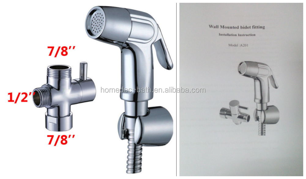 "New 7/8""Brass T-adapter ABS Handheld Bidet Toilet Shattaf Kit Sprayer Wall Bracket set"