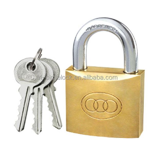 Tri circle 38mm Brass Padlock 3 Keys