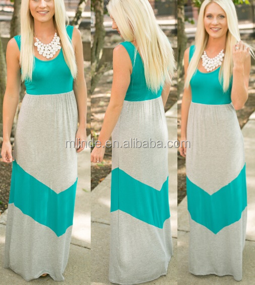 Oem Mint White Stripe Fitted Jersey Knit Chevron Maxi Dress,Summer ...