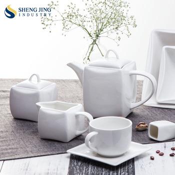 Restaurant White Ceramic Pot Modern Cup Teapot Set Hotel