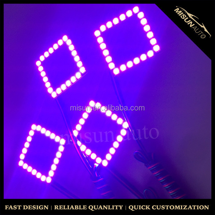 wireless remote control halo ring Special black pcb panel Square RGB angel eye light Led Ring for 3'' pod light