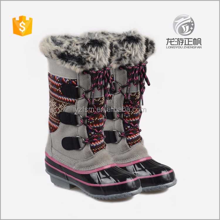 Luxury leather ladies long winter boots