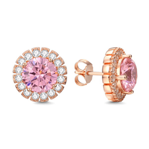 LZESHINE New Pink CZ Stud Earrings For Wedding Bridal Jewelry Fashion Rose Gold Color Earrings For Women Jewelry Accessories
