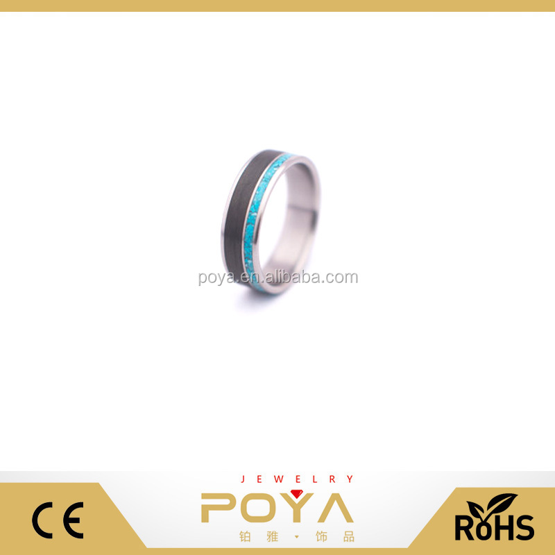 POYA Jewelry New Titanium Carbon Fiber And Turquoise Mineral Stone Inlay Wedding Engagement Band Rings For Men and Women