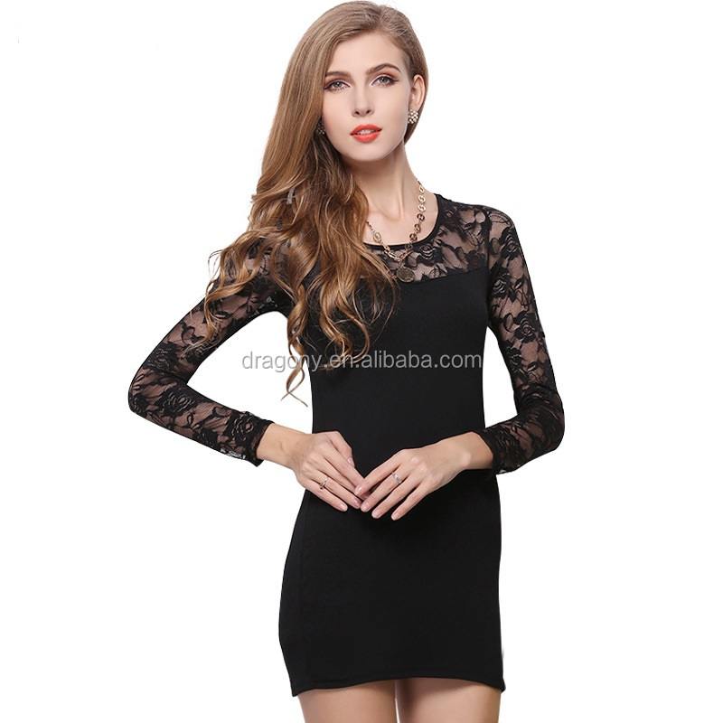 Plus Size Black Lace Women's Dresses Long Sleeves Bodycon Dress