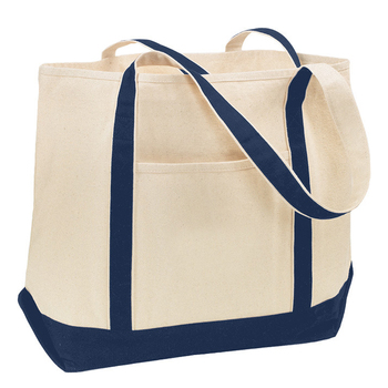 Heavy Duty Canvas Tote Bags Custom Logo Printed Bag With Outside Pockets