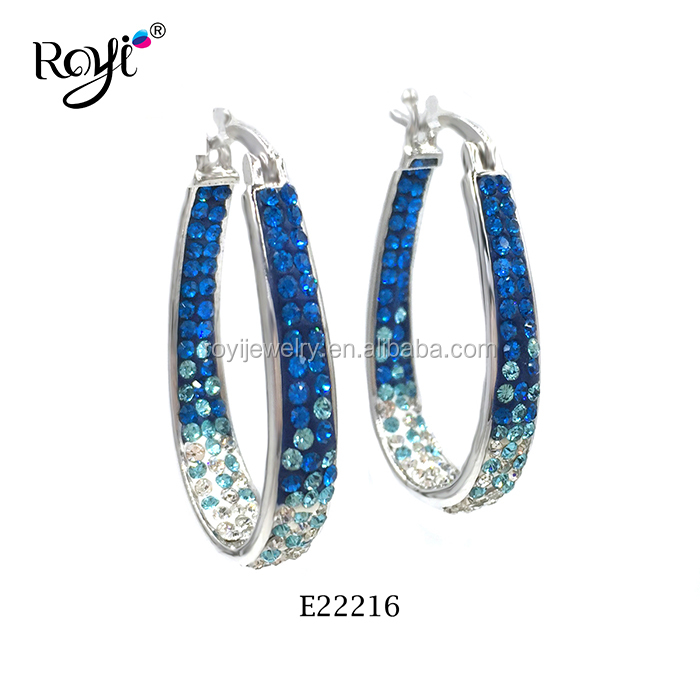 925 Sterling Silver Jewelry Faded Blue Ombre Polymer Clay Crystal Hoop Earrings