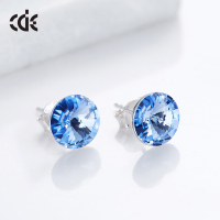 embellished with crystals from Swarovski Stud Blue Rhinestone Earrings