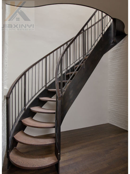 Solid Wood Stair Treads Steel Handrail Indoor Modern Household Straight/Curved  Staircase