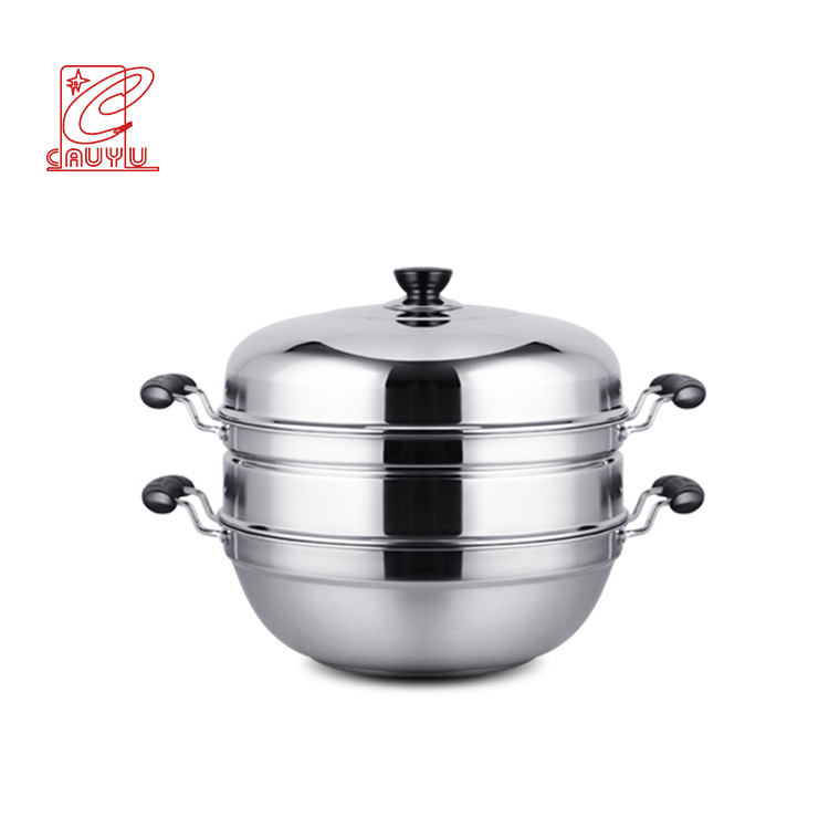Stainless Steel Wok Pan dengan Steamer Plate 34/36 Cm Wajan Penggorengan dengan Pegangan Double