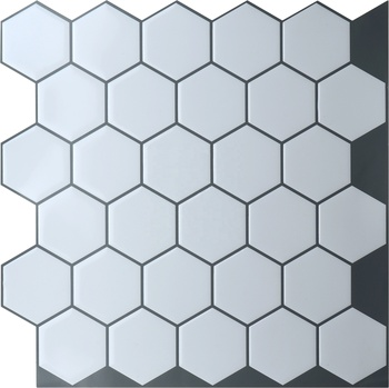 Perfect for RV Kitchen easy to install white hexagon peel and stick tile backsplash