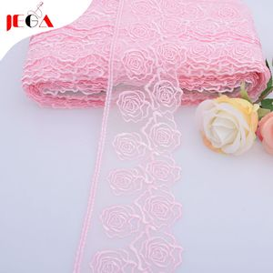 2019 Popular pink french embroidery tulle lace trim