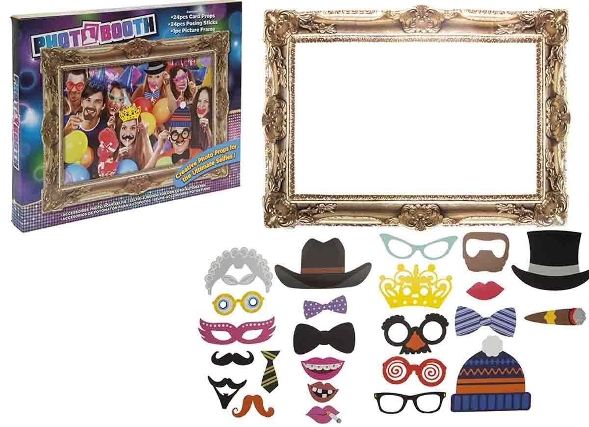 Buy Photo Booth 24 piece Selfie Posing Props & Large Picture Frame ...