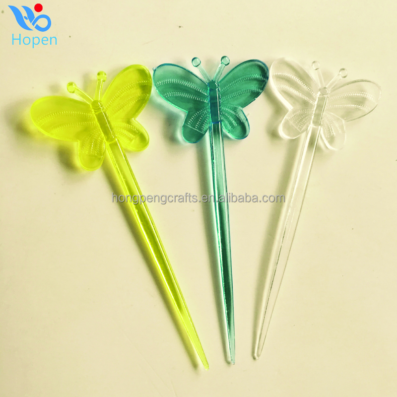 80mm butterfly plastic fruit stick