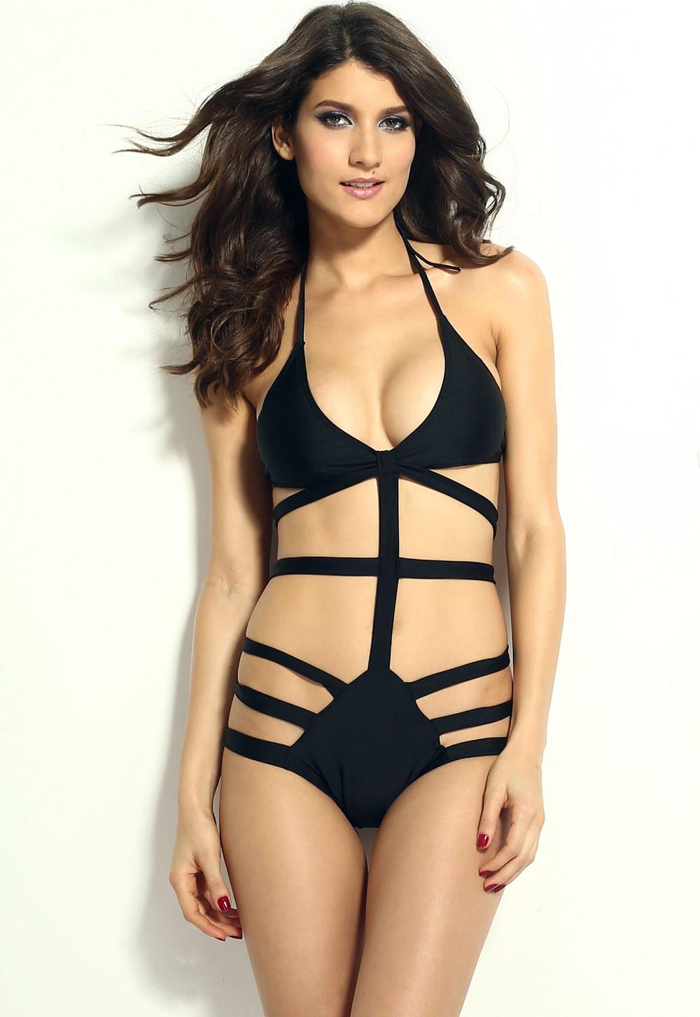 Get Quotations · 2015 Women Black Strappy Cutout Monokini Women One Piece  Swimsuit Bathing Suit Brazilian Biquini Bodysuit Moda b5943ca627
