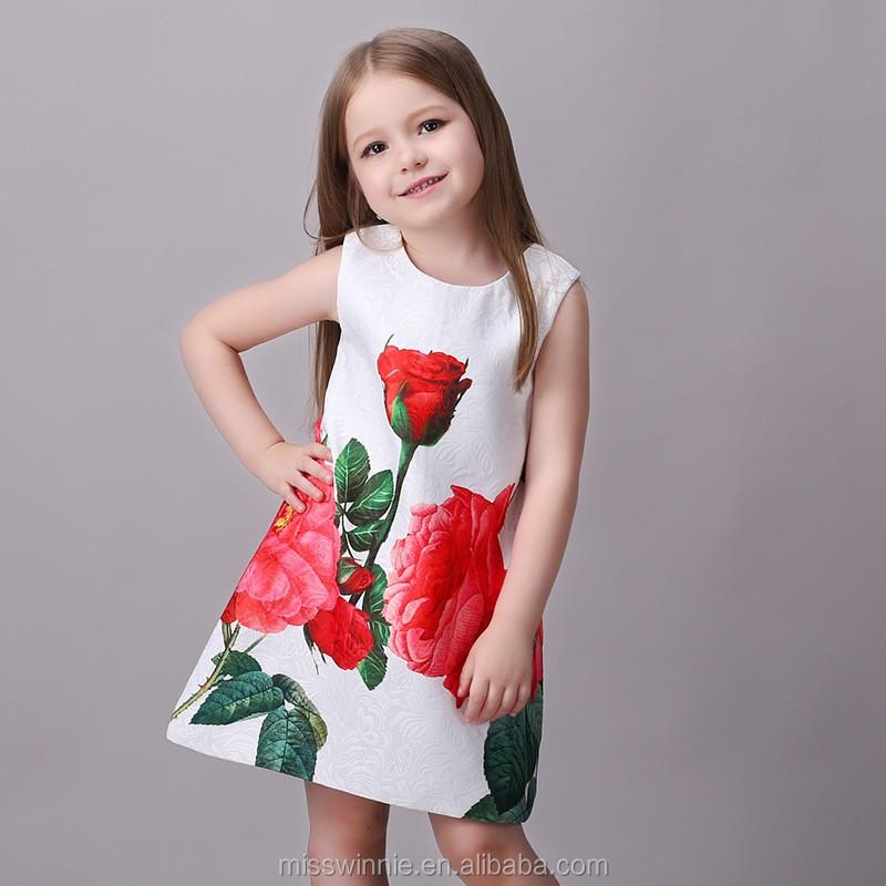 Latest Frock Designs Red Rose Kids Beautiful Model Dresses