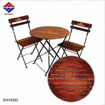 Wondrous Custom Printed Folding Wood Iron Steel Table And Folding Chair Outdoor Bistro Set For Cafe Beer Restaurant Commerical Dinning Buy Iron Steel Bralicious Painted Fabric Chair Ideas Braliciousco