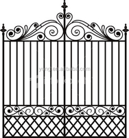 Modern design tubular wrought iron fence grill gate