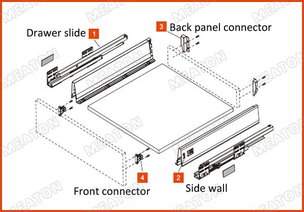 Basket Drawer Slides;kitchen Cabinet Soft Close Hardware;drawer ...