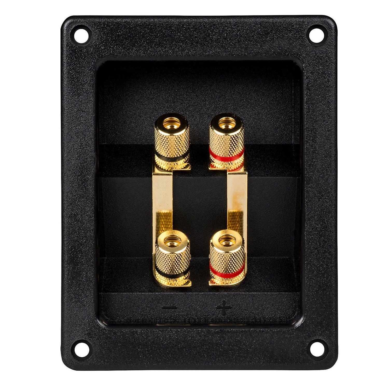 SODIAL(R) Bi-Amp Speaker Terminal Cup Junction box Gold Banana Binding Post