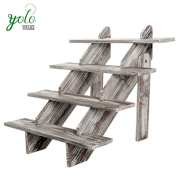 4-Tier Rustic Weathered Wood Display Riser,Decorative Merchandise Stand
