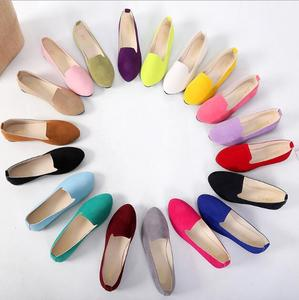 SP2879A Cheap Low Price Candy color Faux Suede Loafers Shoes Women Flats Shoes size 42 43