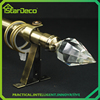 Single curtain rod with crystal finial, elegant crystal finial curtain rod