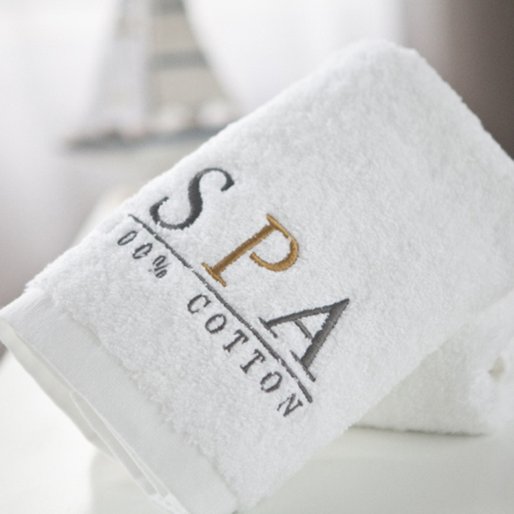 China wholesale customize Embroidered Logo luxury pure cotton White hotel Hand towel