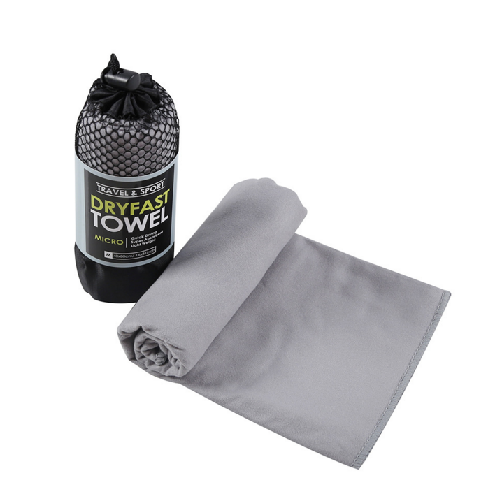 Customize Microfiber Hiking Travel Towel With Barrel Sharped Portable Mesh Bag For Outdoor Travel