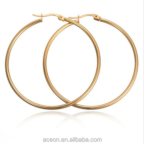 Yiwu Aceon Stainless Steel New Products cheap gold plain hoop earring