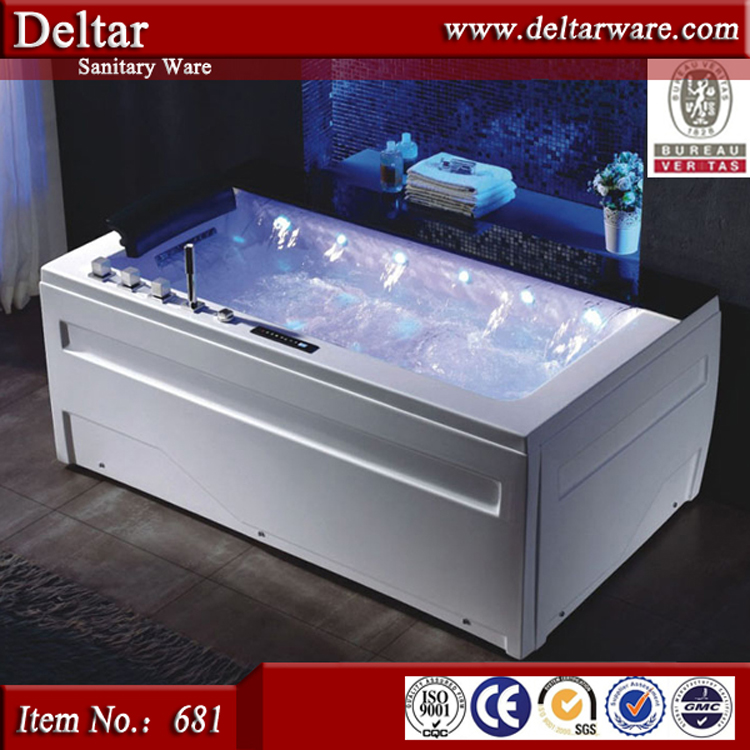 Water fall Strong Freestanding whirlpool LED bubble massage bathtub bathroom acrylic bathtub