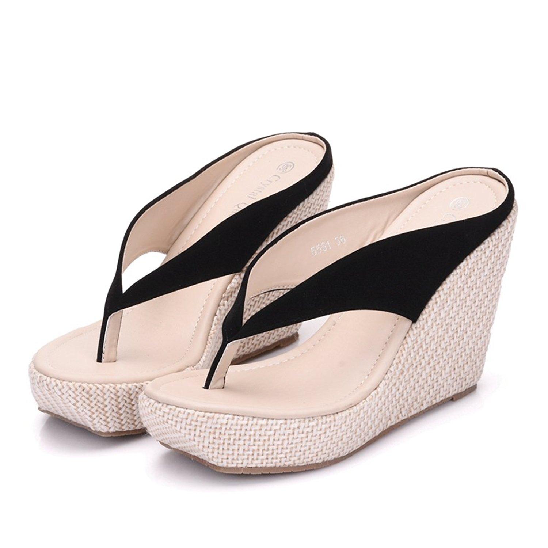 a55f2a60f794 Get Quotations · Crystal Queen Women Beach Sandals Platform Wedges Sandals  High Heels Wedges Slippers Flip Flops White Flip