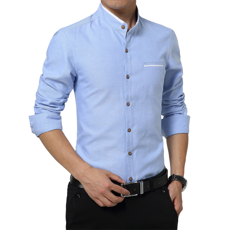 ea3336e4f0af Get Quotations · Long Sleeve Stand Collar Shirt Men 2015 Solid 100% Cotton  Men Formal Shirts Slim Fit