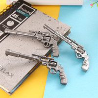 Ballpoint Pen Silver 0.5mm Blue Ink Pen Pistol Modeling Creative Cute Cartoon Beautiful School Supplies Promotion Pen Gift