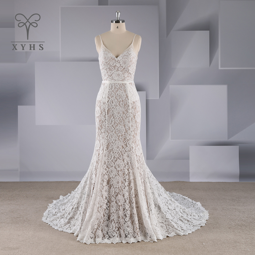 Mermaid abito da sposa 2019 Custom Made Sexy Cinghie di Spaghetti V neck backless del merletto di appliques sopra grigio tromba abito da sposa