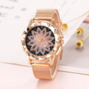 Luxury Women Quartz Wristwatch With Rose Gold Stainless Steel Mesh Belt Fashion Ladies Watches Flower Watch SMKI029
