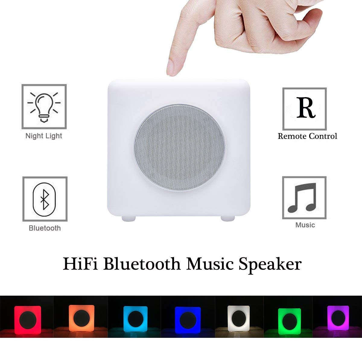 Bluetooth Mood Lamp with Wireless Music Stereo Speaker Remote Control Smart LED Color Changing Bedside Table Speaker Light with Dimmable Warm Night Light