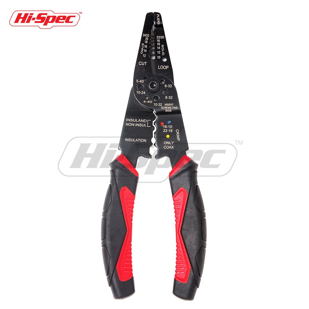 "Hi-Spec 8"" Multi-Function Wire Stripper Tool for Cutting Wire & Screws, Stripping Cable and Crimping Terminals and Connections"