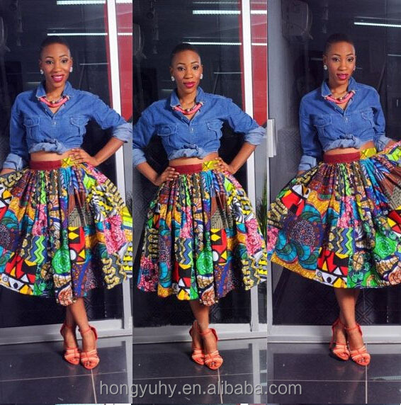 f289a31459 M40768 Custom made Colorful African mix print skirt african wax print  pleated skirt form clothing manufacturers