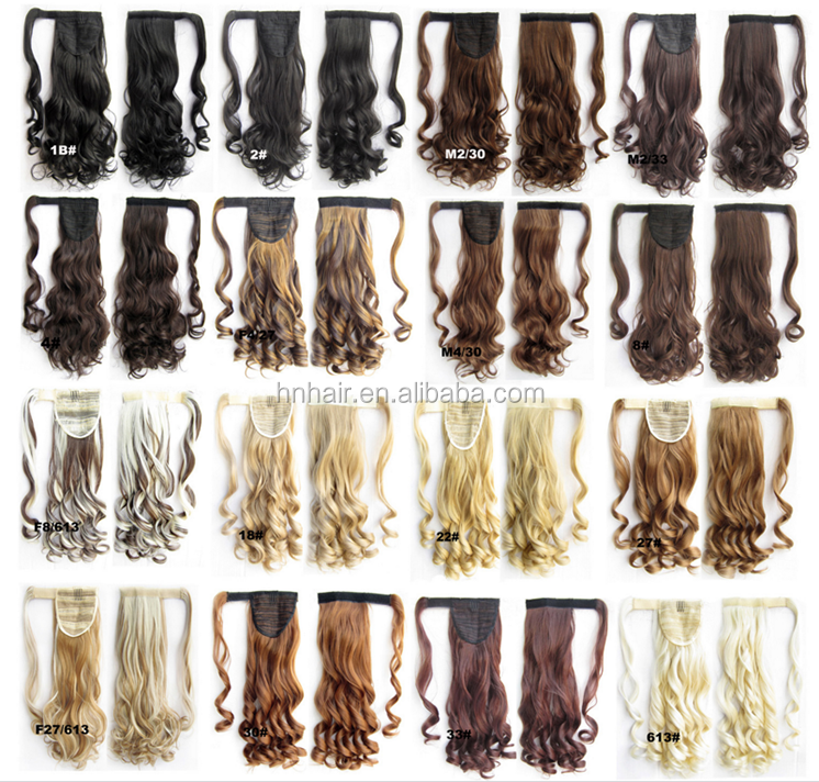 Fashion Ribbon Wrap Around Womens Long Wavy Hair Ponytails Hairpieces