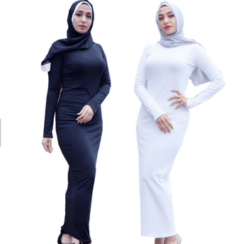 2019 Wholesale Comfortable Islamic Women Pleated Cotton Stretchy Bottom Tight Long Dress