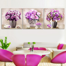 Wholesale Rose Flower Vase Acrylic Painting Designs On Canvas Modern
